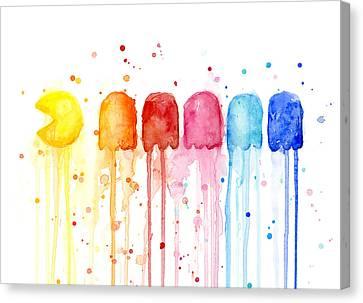 Pacman Watercolor Rainbow Canvas Print by Olga Shvartsur