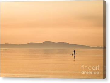 Paddle Boarding At Sunrise Canvas Print