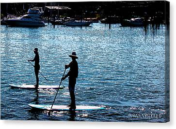 Paddle Boarding In The Marina Canvas Print by Susan Vineyard