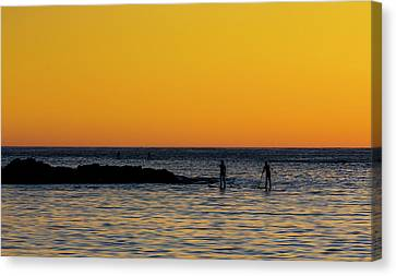 Paddleboarding  - Mackinzie Beach Yellow Sunset Canvas Print