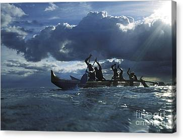 Paddlers At Sunset Canvas Print by Bob Abraham - Printscapes