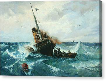 Paddlesteamer In Stormy Weather Canvas Print by Andreas Achenbach