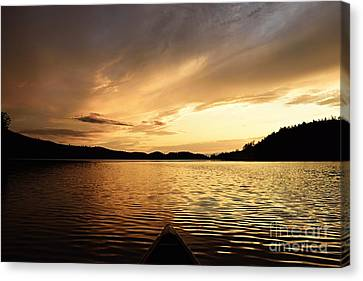 Paddling At Sunset On Kekekabic Lake Canvas Print