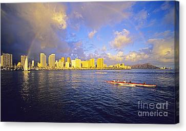 Paddling Beneath Rainbow Canvas Print by Carl Shaneff - Printscapes
