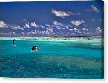 Paddling In Moorea Canvas Print by David Smith