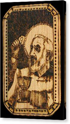 Padre Pio Pyrograph Canvas Print by Melissa Cavaliere