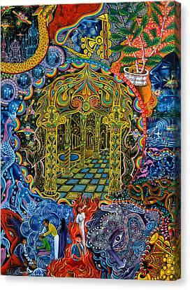 Ayahuasca Visions Canvas Print - Pagoda Dorada by Pablo Amaringo