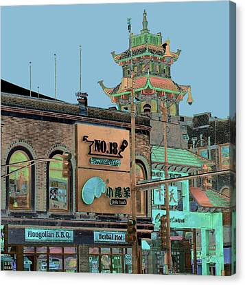 Canvas Print featuring the photograph Pagoda Tower Chinatown Chicago by Marianne Dow
