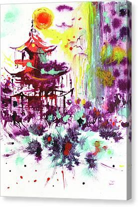 Canvas Print featuring the painting Pagoda by Zaira Dzhaubaeva