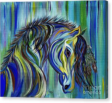 Canvas Print featuring the painting Paint Native American Horse by Janice Rae Pariza