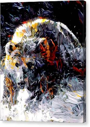 Paint Splashed Grizzly Abstract  Canvas Print by Scott Wallace