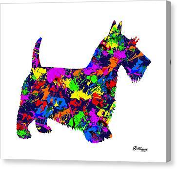 Paint Splatter Scottish Terrier Canvas Print