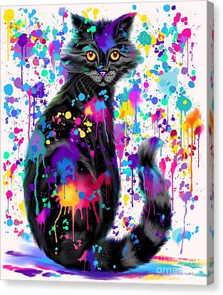 Canvas Print - Paint With Colorful Cat by Nick Gustafson