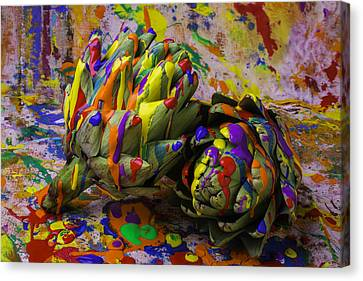 Painted Artichokes Canvas Print by Garry Gay