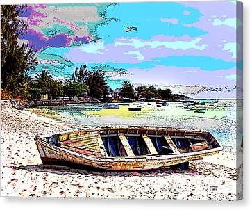Sun Rays Canvas Print - Painted Boat by Charles Shoup