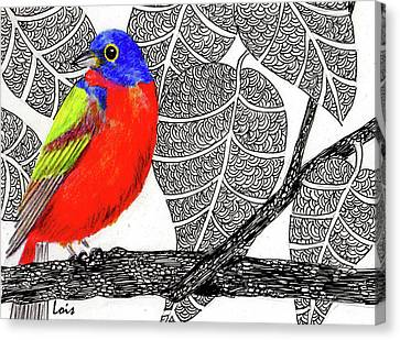 Bunting Canvas Print - Painted Bunting by Lois Davis