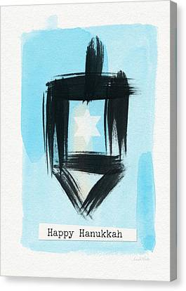 Painted Dreidel Happy Hanukkah- Design By Linda Woods Canvas Print