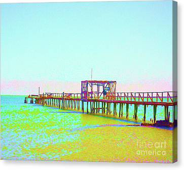 Surf Lifestyle Canvas Print - Painted Fishing Pier by Chris Andruskiewicz