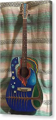 Painted Guitar Canvas Print by Steve  Hester