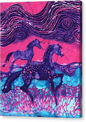 Painted Horses Below The Wind Canvas Print by Carol  Law Conklin