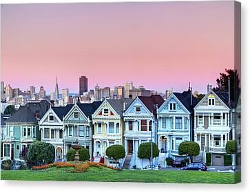 Houses Canvas Print - Painted Ladies At Dusk by Photo by Jim Boud