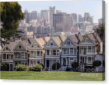 Painted Ladies Of Alamo Square Canvas Print by Mary Lou Chmura