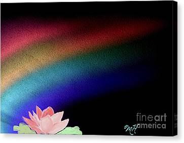 Curtains Canvas Print - Painted Lotus Under Rainbow by Marsha Heiken