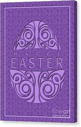 Canvas Print featuring the digital art Painted Marble Deco Easter Egg by JH Designs
