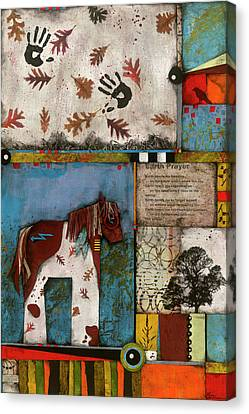 Red Leaf Canvas Print - Painted Mare, Oak, War Pony  by Laura Lein-Svencner