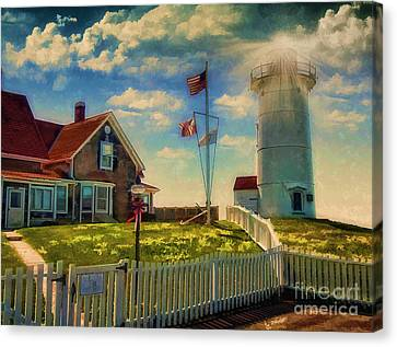 Painted Nobska Lighthouse On Cape Cod Canvas Print by Gina Cormier