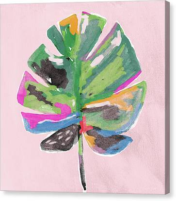 Canvas Print featuring the mixed media Painted Palm Leaf 2- Art By Linda Woods by Linda Woods