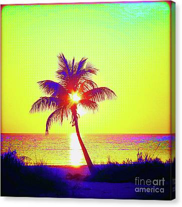Surf Lifestyle Canvas Print - Painted Palm Sunset by Chris Andruskiewicz