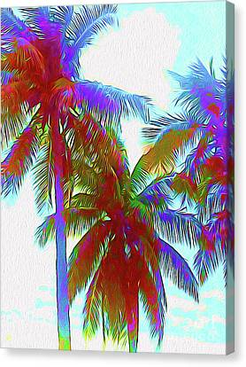 Surf Lifestyle Canvas Print - Painted Palms IIi by Chris Andruskiewicz