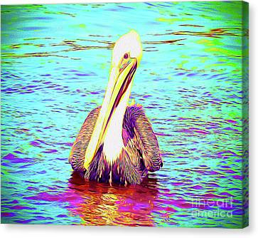 Surf Lifestyle Canvas Print - Painted Pelican by Chris Andruskiewicz