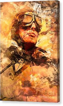 Painted Pilots At War Canvas Print