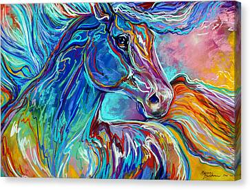 Abstract Equine Canvas Print - Painted Pony Abstract In Pastel by Marcia Baldwin