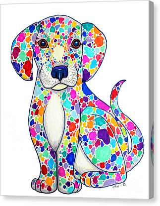 Painted Puppy Canvas Print by Nick Gustafson