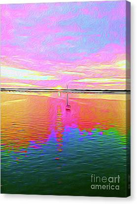Surf Lifestyle Canvas Print - Painted Sailboat Sunset by Chris Andruskiewicz