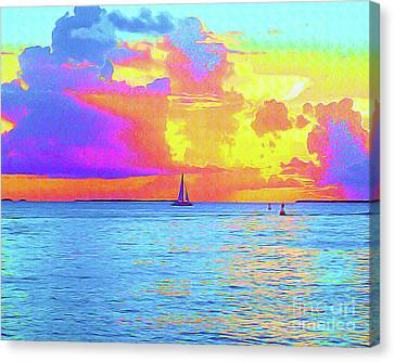 Surf Lifestyle Canvas Print - Painted Sails Key West by Chris Andruskiewicz