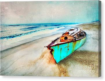 Painted Shipwreck On The Outer Banks II Canvas Print