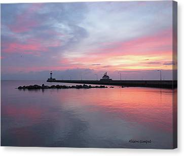 Duluth Canal Park Canal Park Lighthouse Lighthouse Lake Superior Minnesota Canvas Print - Painted Sky by Alison Gimpel