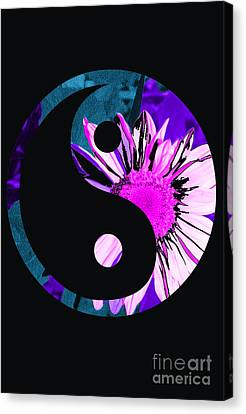 Painted Sunflower Yin Yang Canvas Print