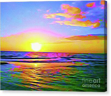 Surf Lifestyle Canvas Print - Painted Sunset by Chris Andruskiewicz