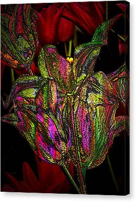 Canvas Print featuring the photograph Painted Tulips by Irma BACKELANT GALLERIES