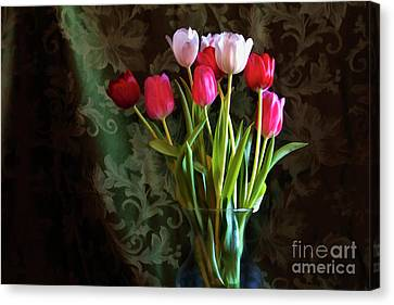 Painted Tulips Canvas Print by Joan Bertucci