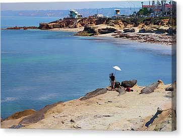 Painter By The Sea Canvas Print by Joseph S Giacalone