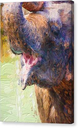 Impressionist Canvas Print - Painterly Elephant by Pati Photography
