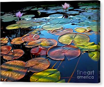 Painterly Lily Pads At Sunset By Kaye Menner Canvas Print by Kaye Menner