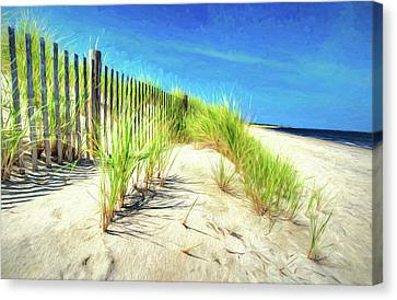Canvas Print featuring the photograph Painterly  Waterfront Dune Grass by Gary Slawsky