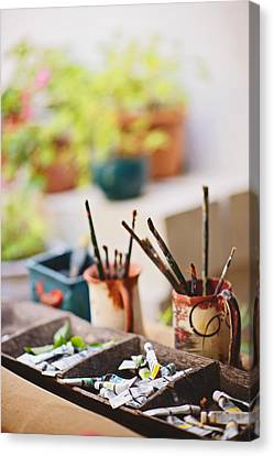Painting Brushes Canvas Print by Ilker Goksen